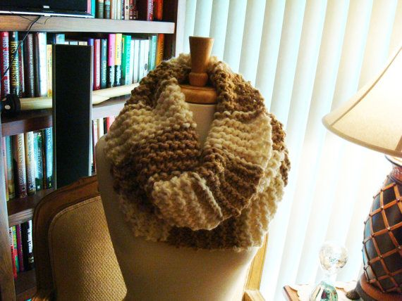 Two Toned Cowl,  Hand Knitted in a Soft  Bulky Yarn ~ Soft and Squishy ~ Large Tube Cowl
