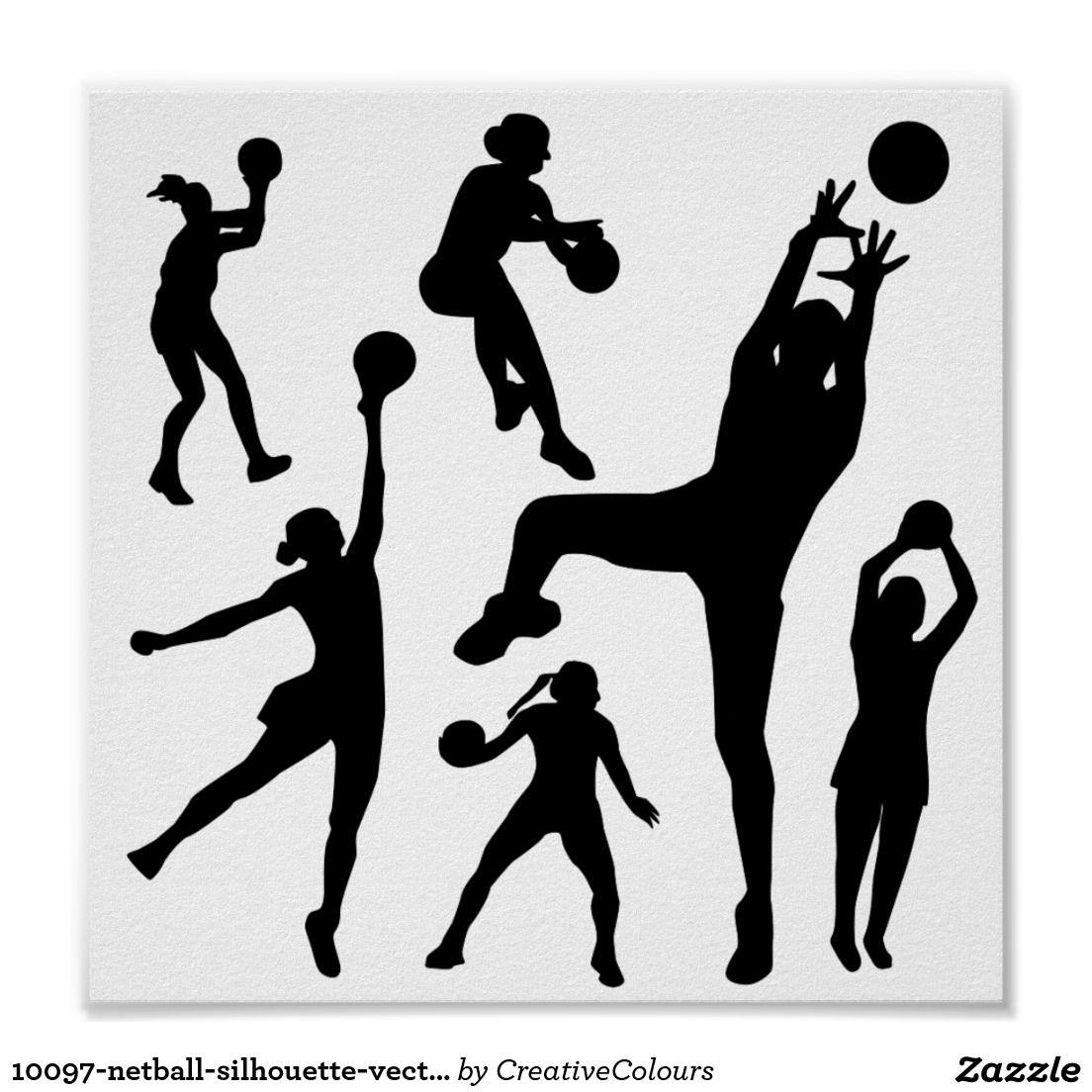10097-netball-silhouette-vector SPORTS NET BALL PE Print ...