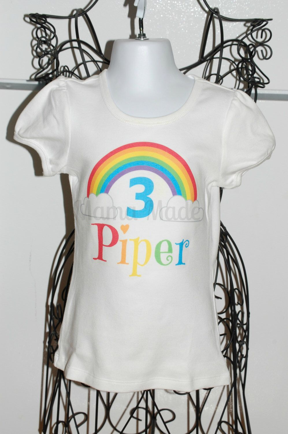 Personalized Rainbow Birthday Shirt Or Bodysuit Party Shirtgirls By Mamamadebows