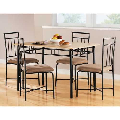 Mainstays 5 Piece Dining Set Multiple Colors Walmart Com Metal Dining Room Metal Dining Set Dining Furniture Sets