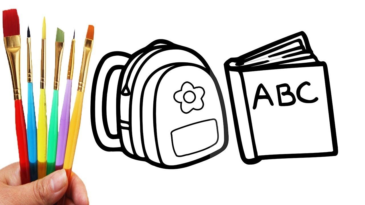 How To Draw School Bag For Boys And Girls School Bag Coloring