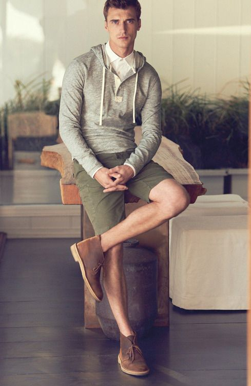 Men's Grey Hoodie, White Dress Shirt, Olive Shorts, Brown Leather ...