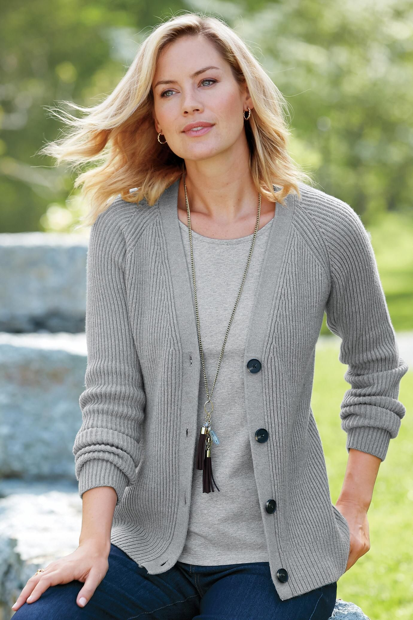 0c962b14e3 Sumptuously Soft Ribbed Cardigan Sweater  Classic Women s Clothing from   ChadwicksofBoston  29.99 -  34.99