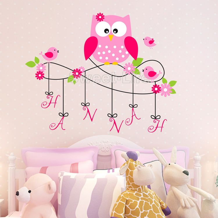 livraison gratuite mignon hibou monogramme nom personnalis stickers muraux home decor stickers. Black Bedroom Furniture Sets. Home Design Ideas