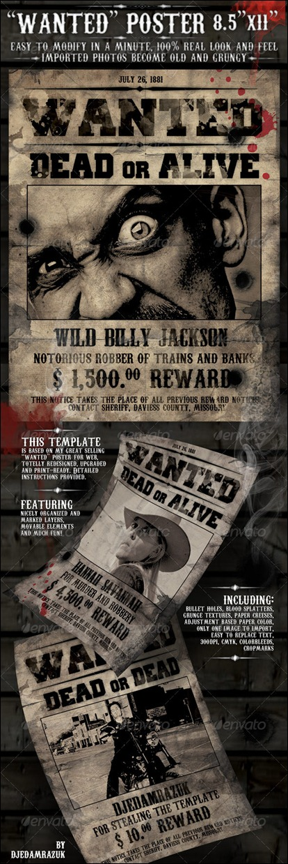 10+ Great Wanted Poster Template Collection Design Tuts