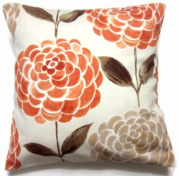 Two Orange, Tangerine, Brown, Taupe, Pillow Covers, Handmade, Decorative 16 Inch Pair