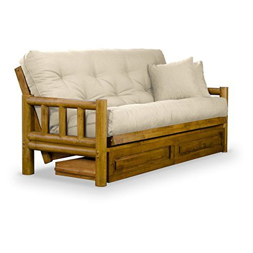 Nirvana Futons Rustic Tahoe Log Futon Frame Drawers And Ivory Mattress Set Queen Rich Heritage Finish