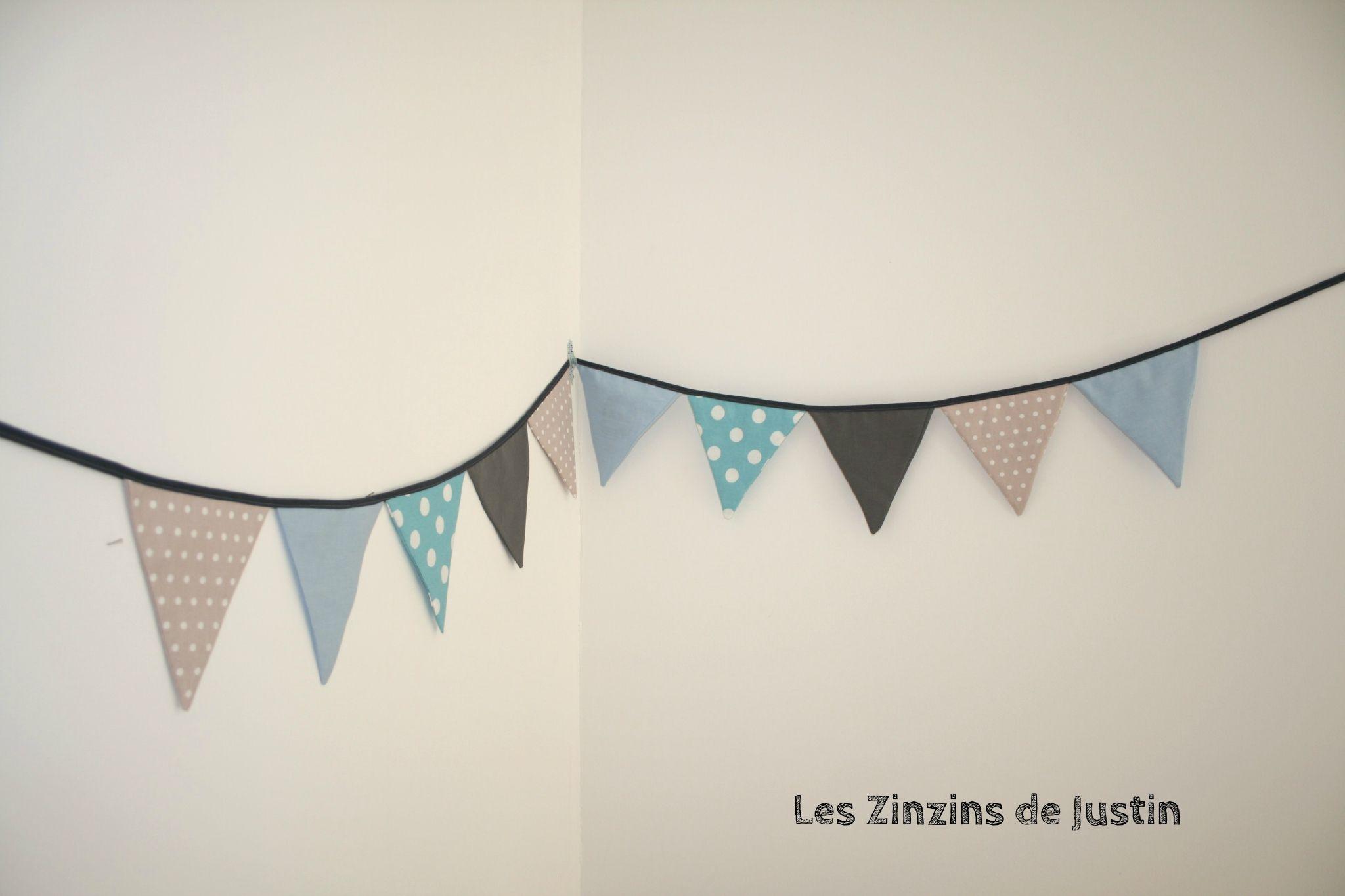 Guirlande fanion taupe bleu turquoise et gris chambre bb baby bedroom baby boy et baby room - Fanion deco chambre ...
