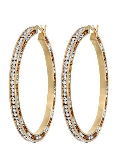 Big Hoop Earrings With Swarovski Elements Giftcaddie Women S Earrings Big Hoop Earrings Crystal Hoop Earrings