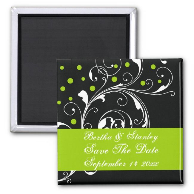 Floral black green wedding Save the Date Magnet