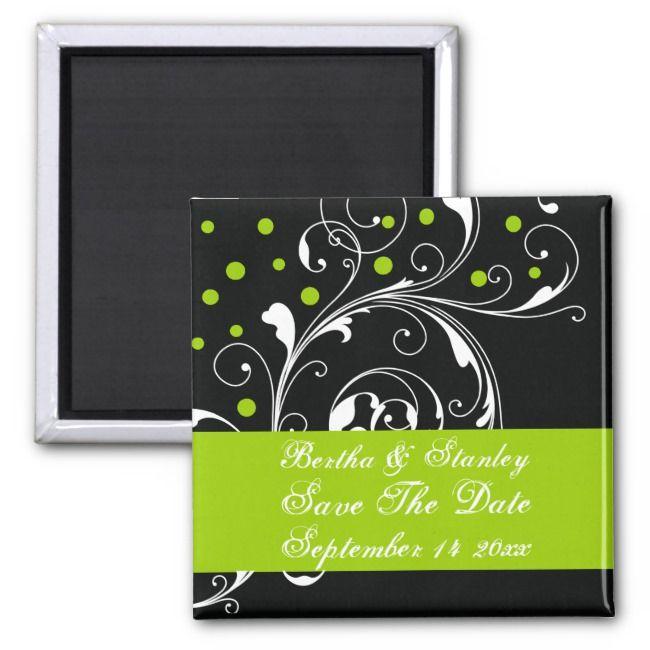 Floral black green wedding Save the Date Magnet
