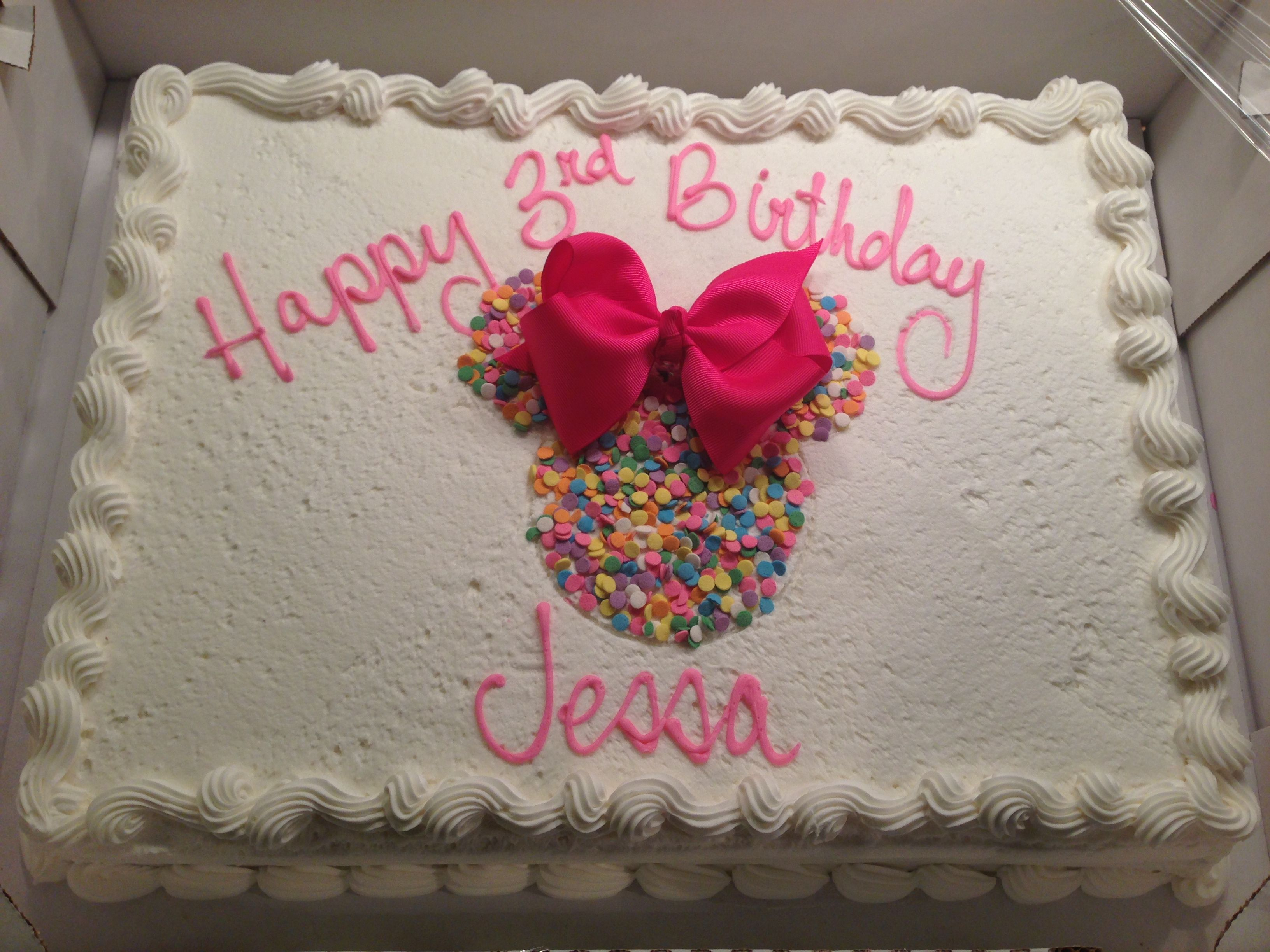 Costco Cake Decorated At Home Minnie Mouse Birthday