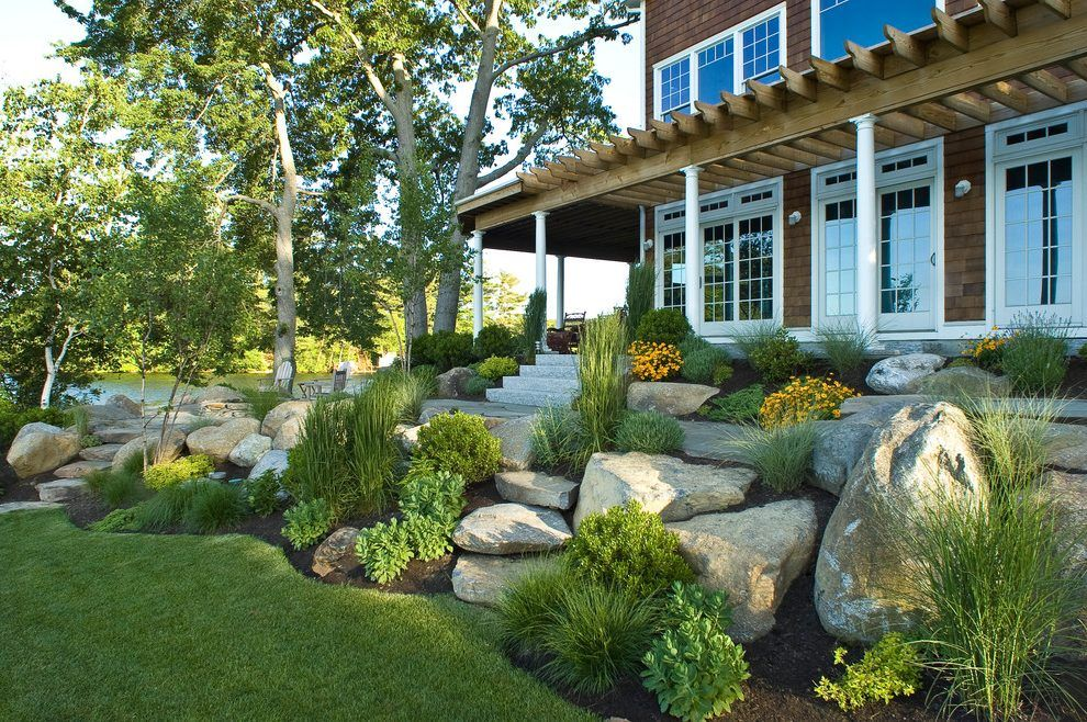 Rock Front Yard Landscape Beach Style With Boulders 400 x 300