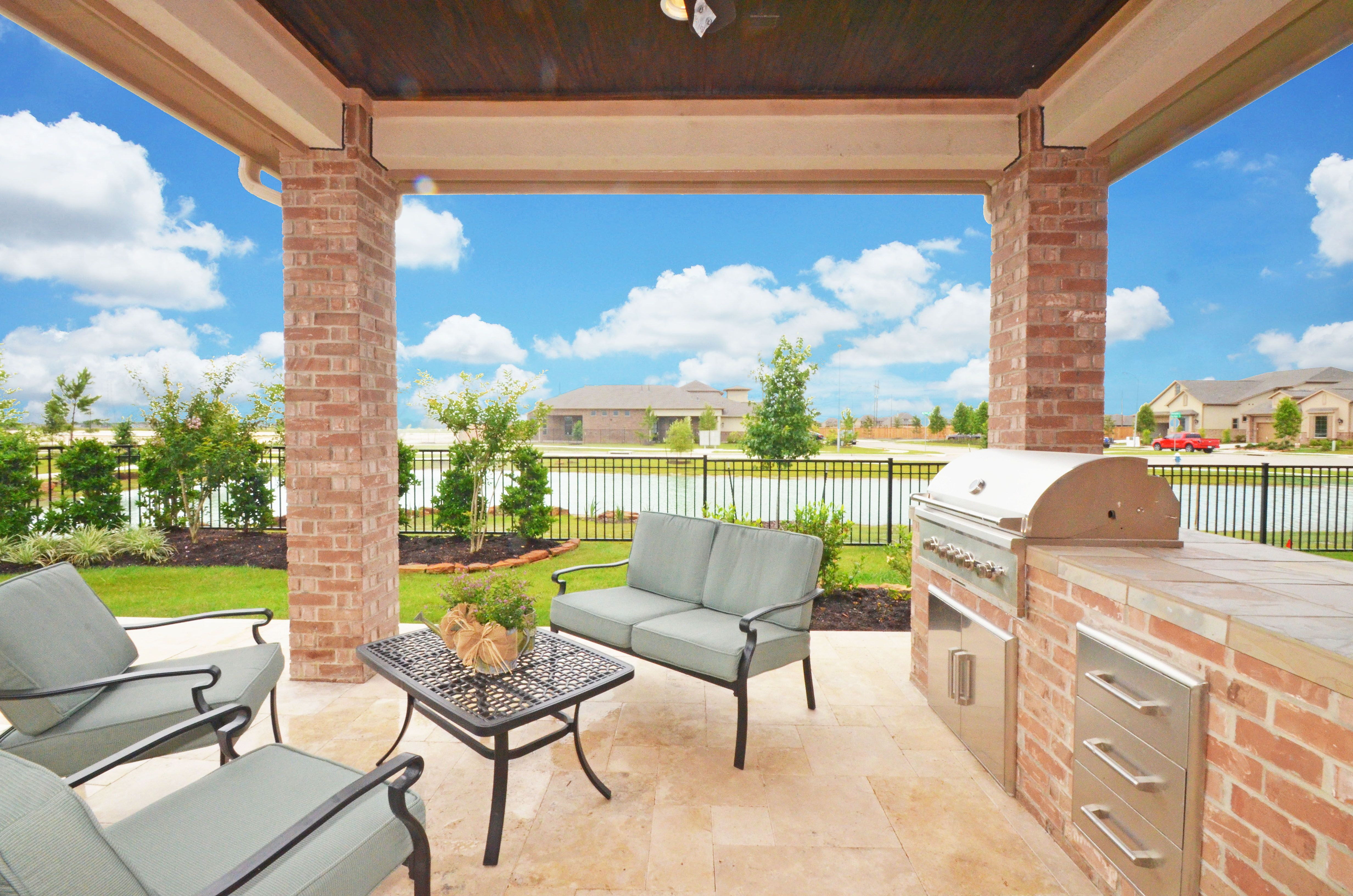 Villa Covered Patio Off Courtyard Entry   Homes By David Powers   La Bella  Cortile,