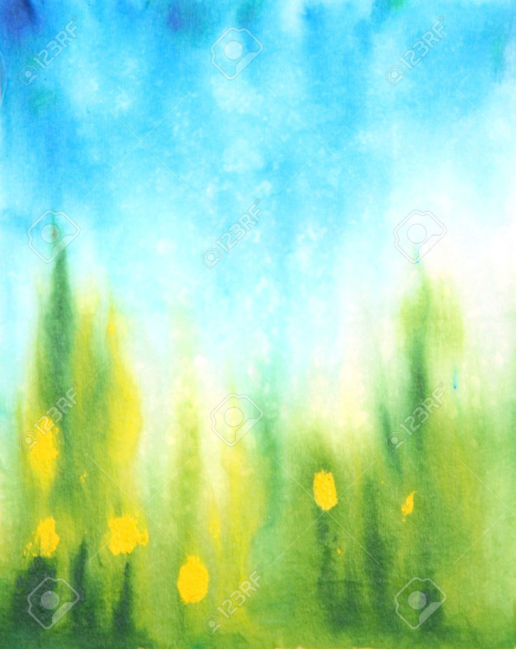 Stock Photo Watercolor Background Green Watercolor Grass