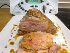 Lomo de cerdo a la sal con salsa de tomillo Thermomix