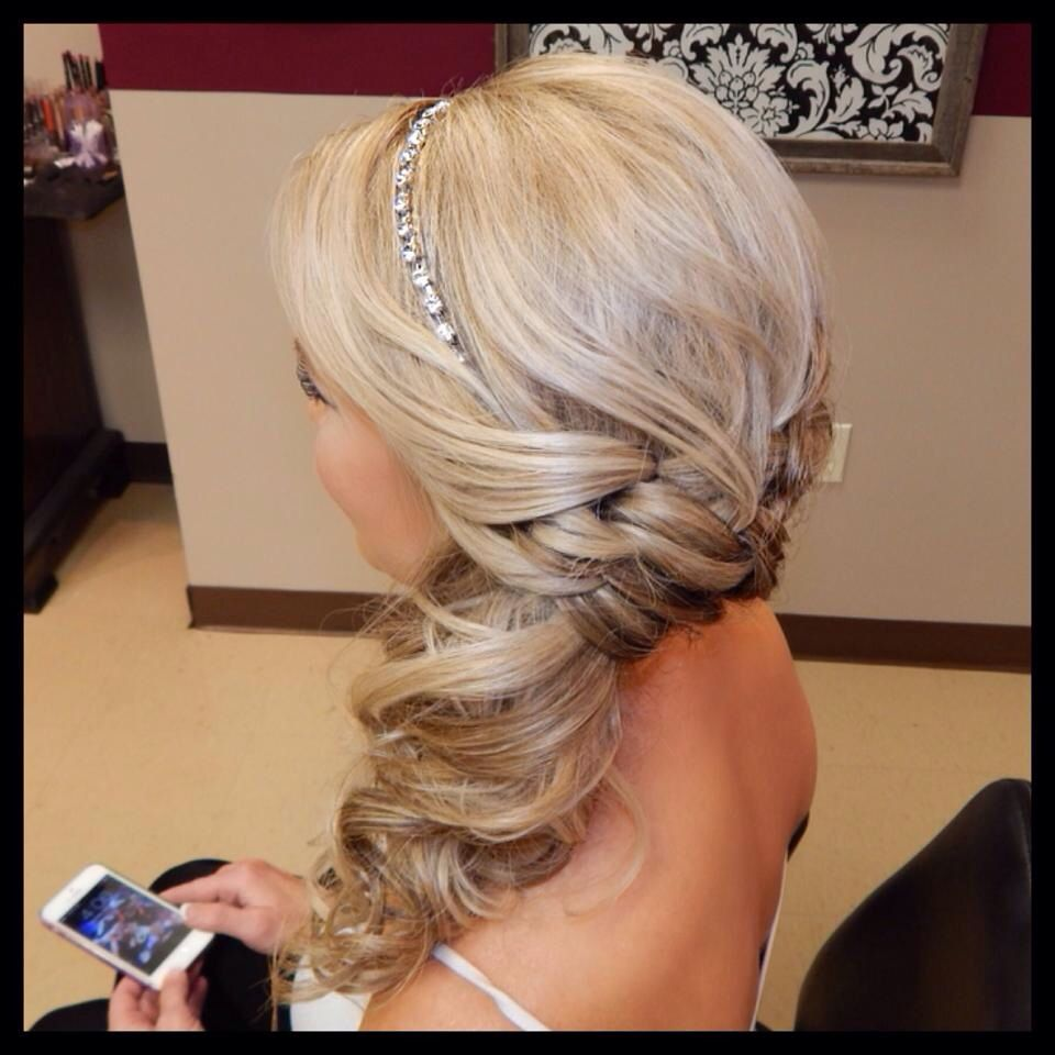 Formal updo for any event low side pony with curls and jeweled