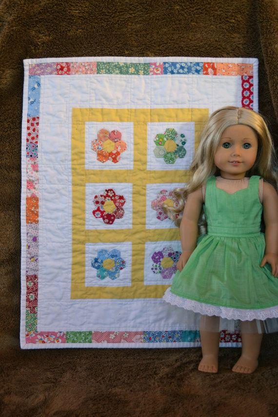 Applique Hexagon Flower Doll Quilt By Jennywrensdressshop