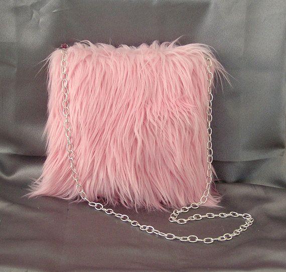 Pink Faux Curly Mongolian Lamb Fur Purse Handbag Tote Bag Handmade