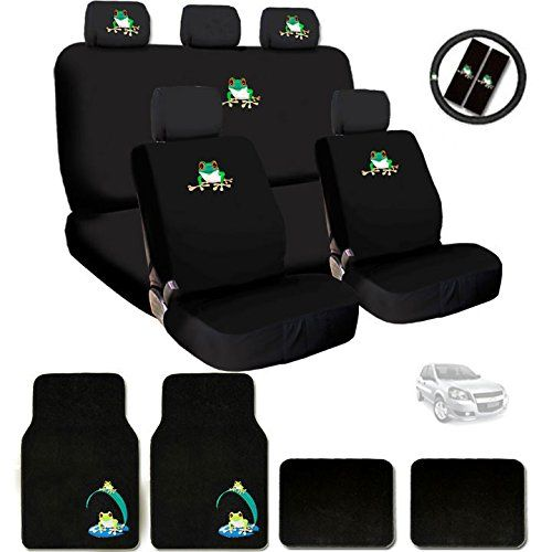 New Embroidery Frog Car Seat Cover Headrest And Steering Wheel Cover Floor Mats Gift Set Car Accesories Car Seats Car Seat Cover Sets