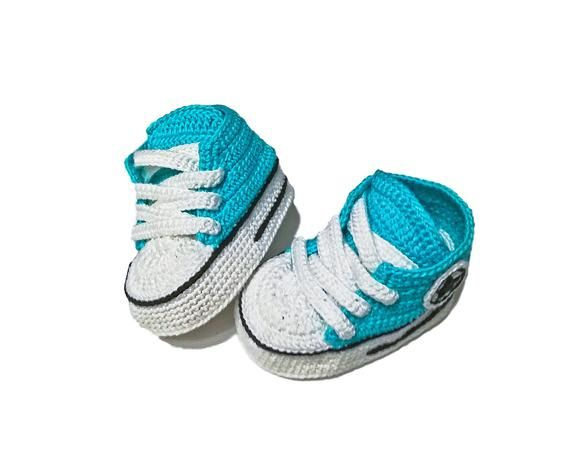 5c871e4d Crochet Converse All star baby booties crocheted handmade sneakers for  newborn shoes for kids knitte