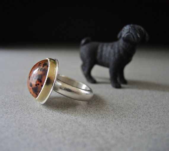 Montana Agate Agate Ring 18kt Gold Sterling Silver by betsybensen