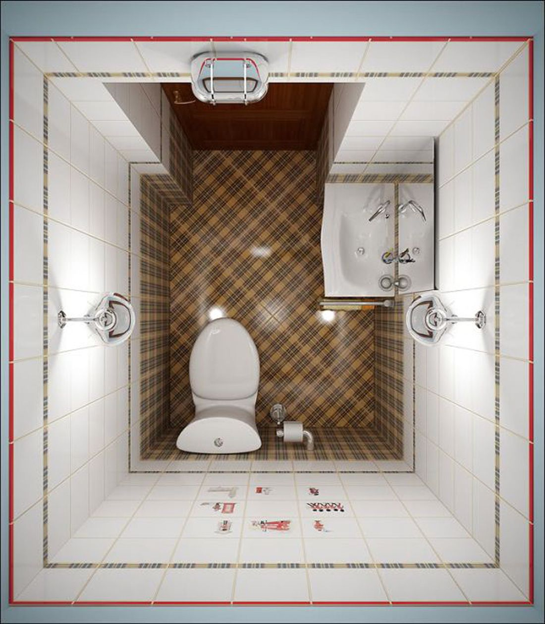 small bathroom designs install a shower head in corner with wood planks on the floor