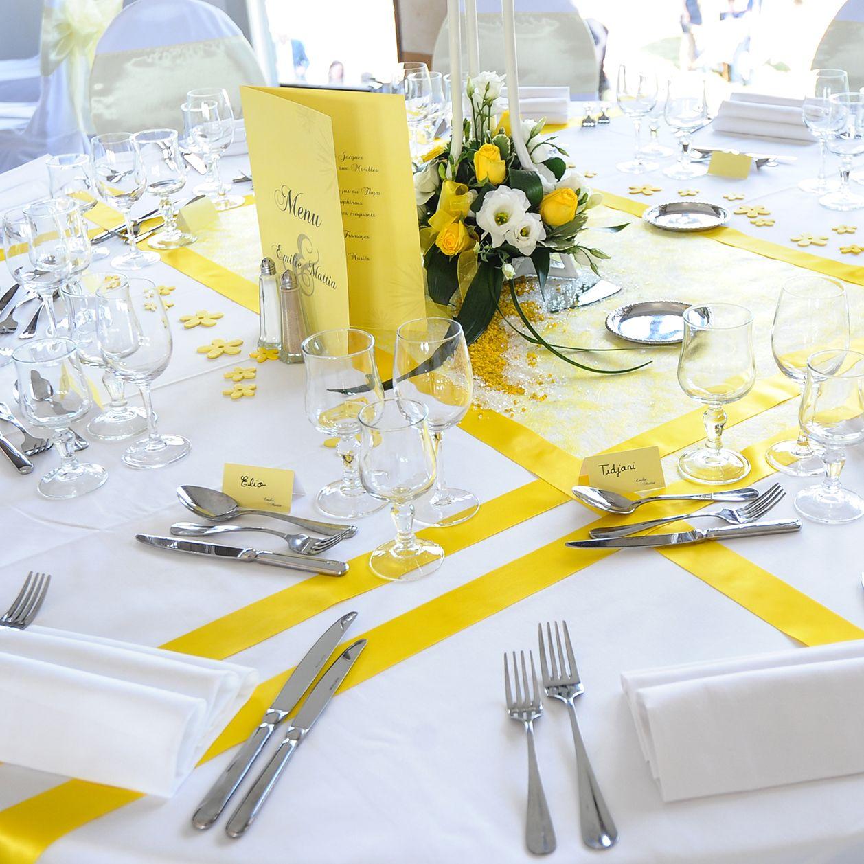 decoration mariage jaune et blanc