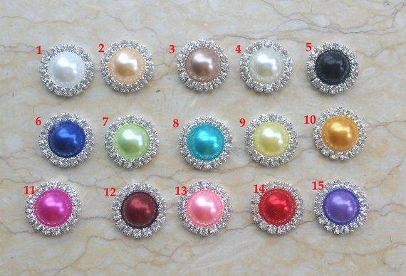 100pcs Crystal Rhinestone Mixed Color Faux Pearl Button Flatback DIY 15mm
