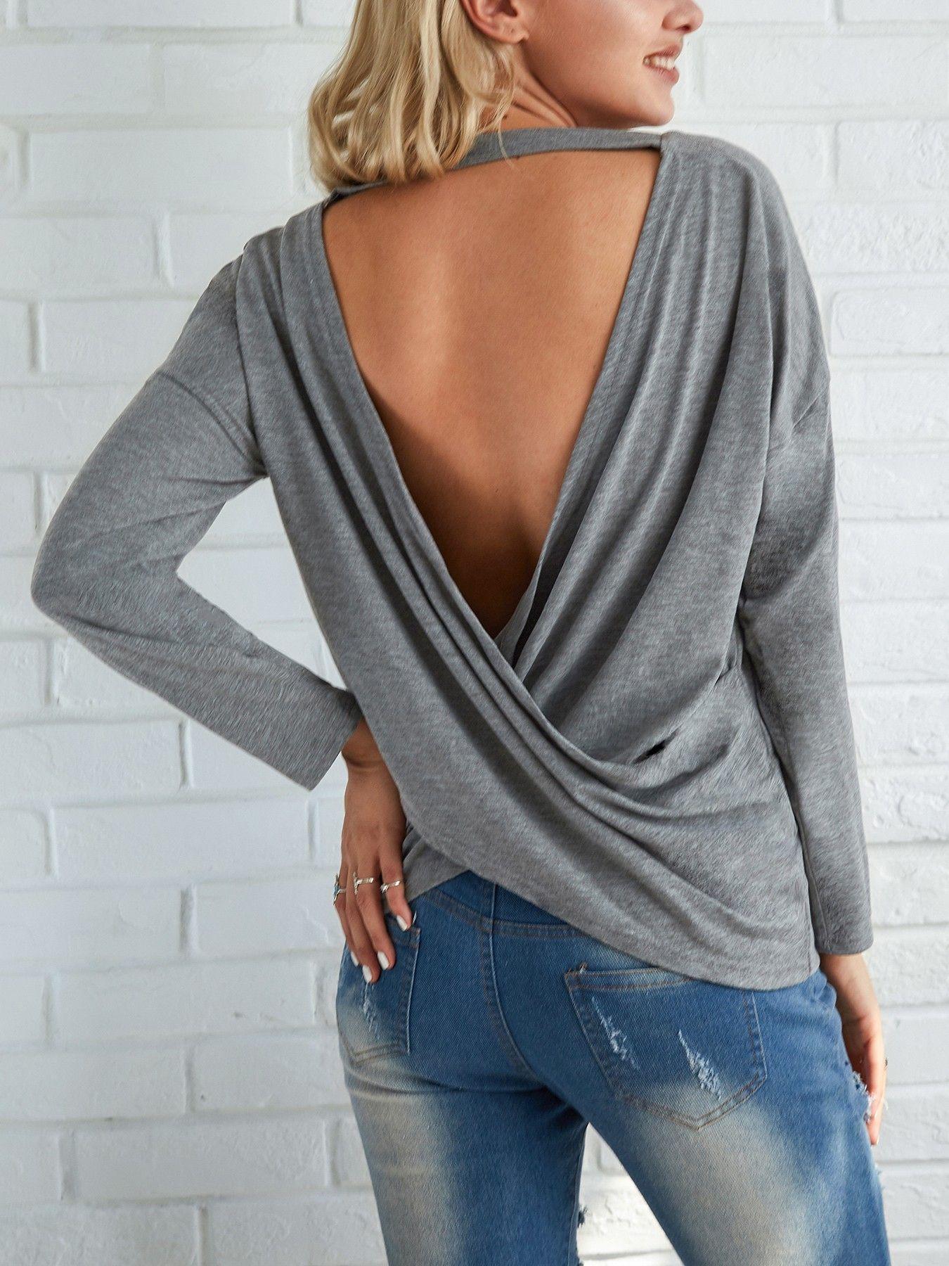 Fashion Open Back Crisscross Loose T Shirts Plus Size Outfits Fashion Women