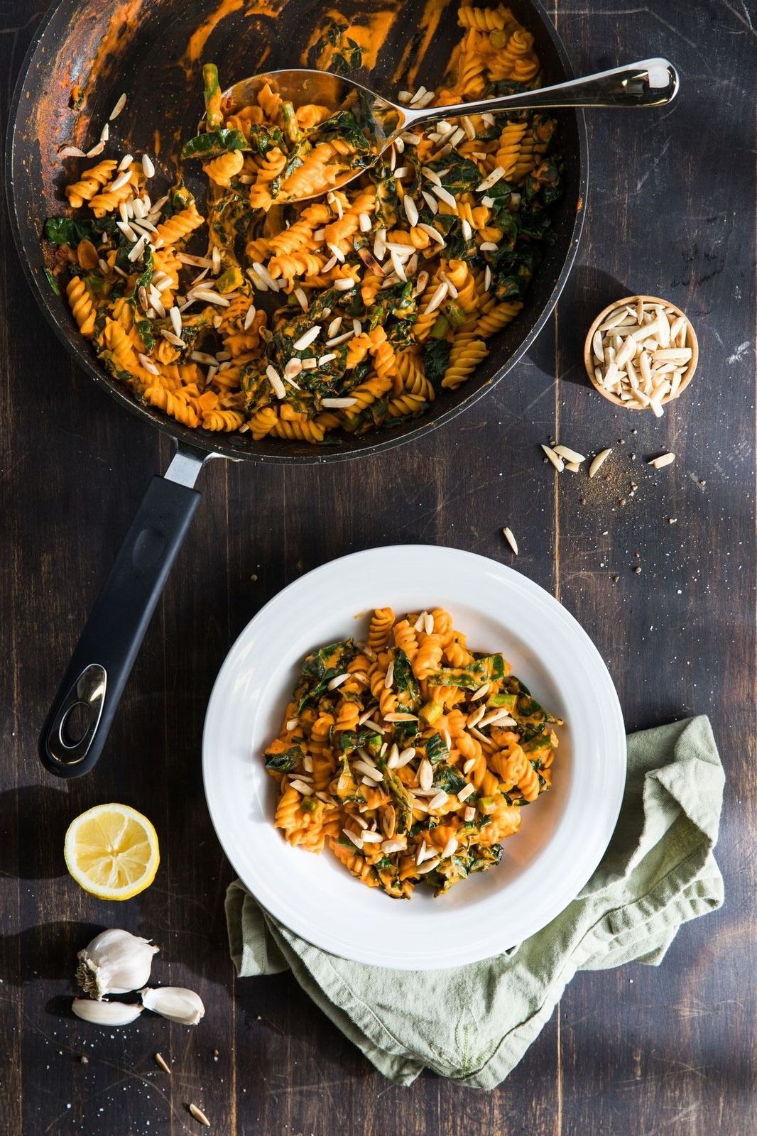 Creamy Red Pepper Rotini With Greens And Toasted Almonds