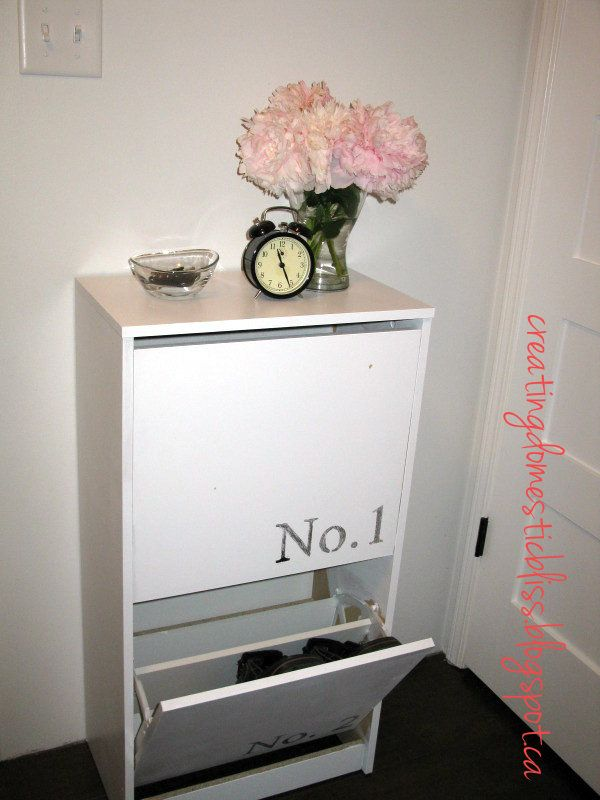 Creating Domestic Bliss: Ikea Bissa Shoe Cabinet Makeover Using WAX PAPER  Transfers