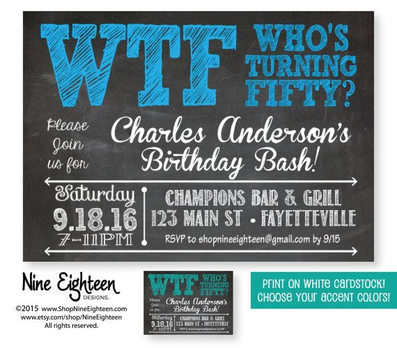 50th Birthday Party Invitation WTF Who's Turning by NineEighteen ...