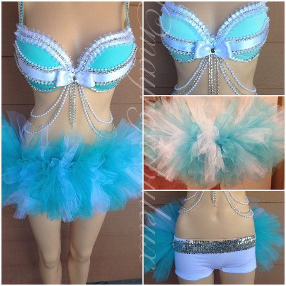 1bea371ce3ffd Tiffany and Co Inspired Rave Outfit Bra with by mayrafabuleux