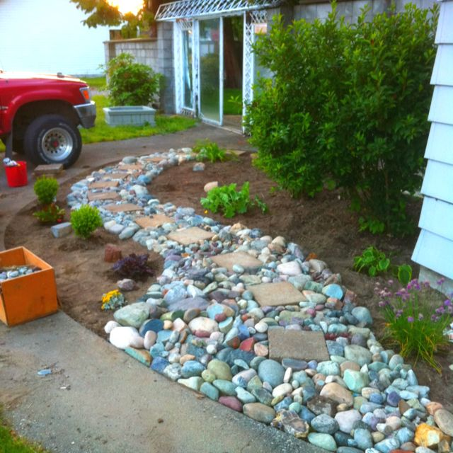 Rock Garden Front Yard Landscaping Ideas: River Rock Path For The Garden