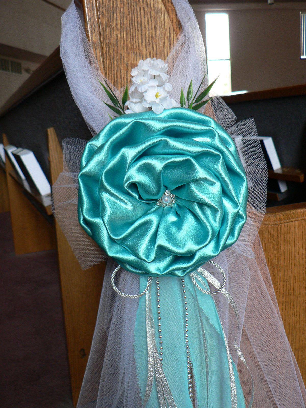 Wedding decor. Chair Bows, Pew Bows, Tiffany Blue, Silver ...