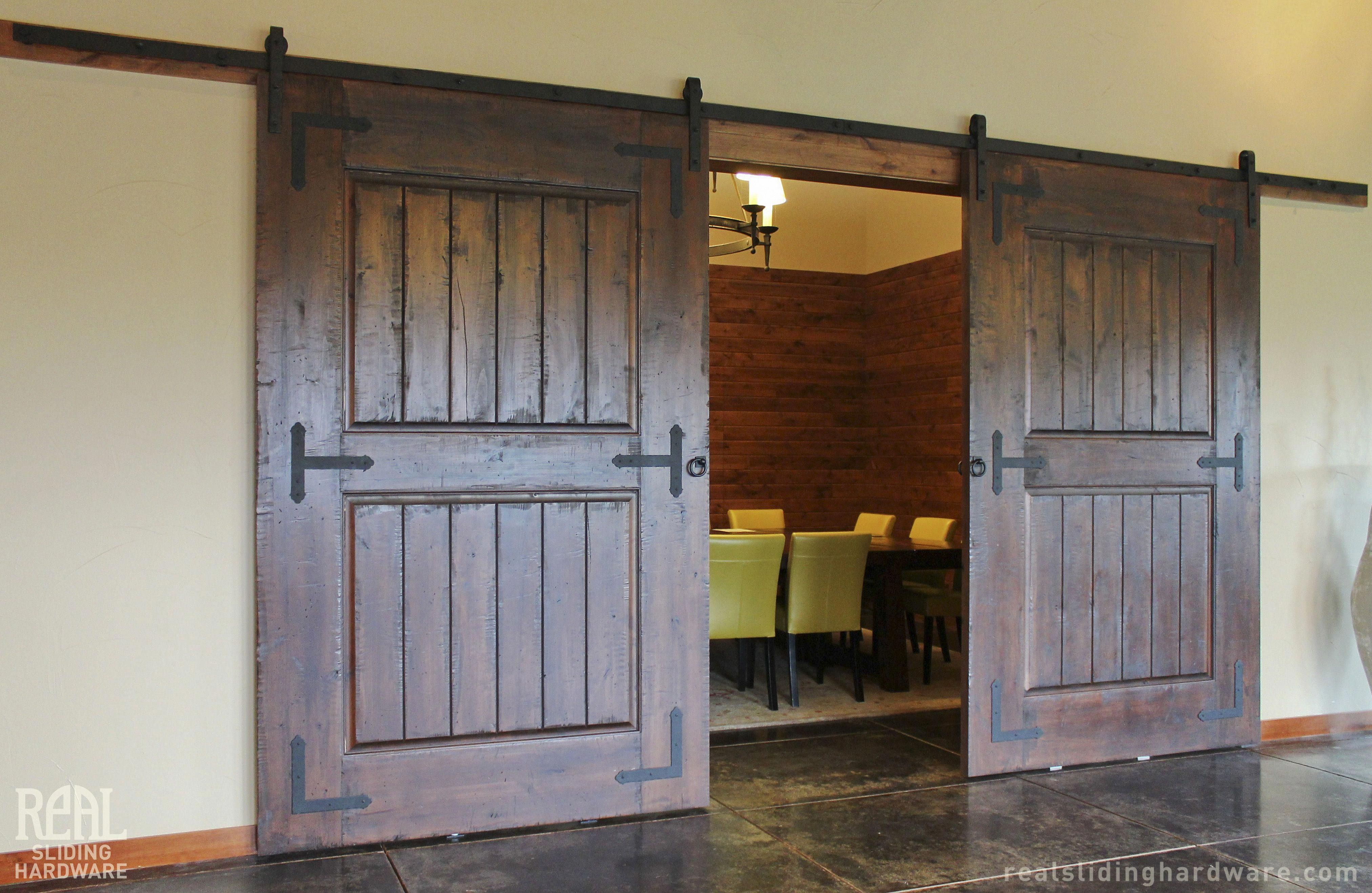 Wine Tasting Room Gets An Old World Look With Distressed Barn Doors And Hardware Barn Doors For Sale Rustic Barn Door Rustic Barn Door Hardware
