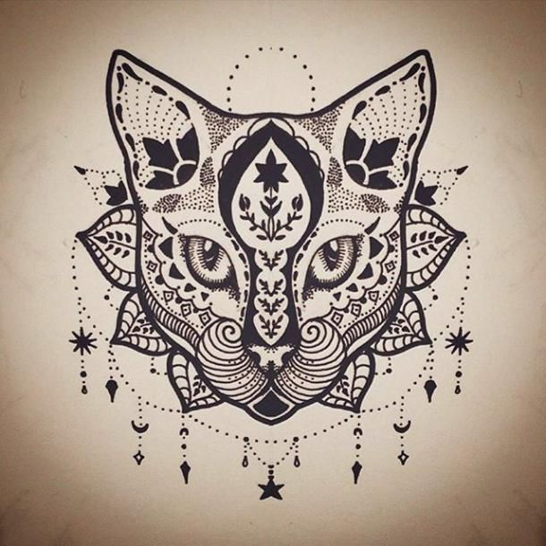 Mandala Cat Tattoo Design Tattoo S Tatuering Tatueringar Katt Katt