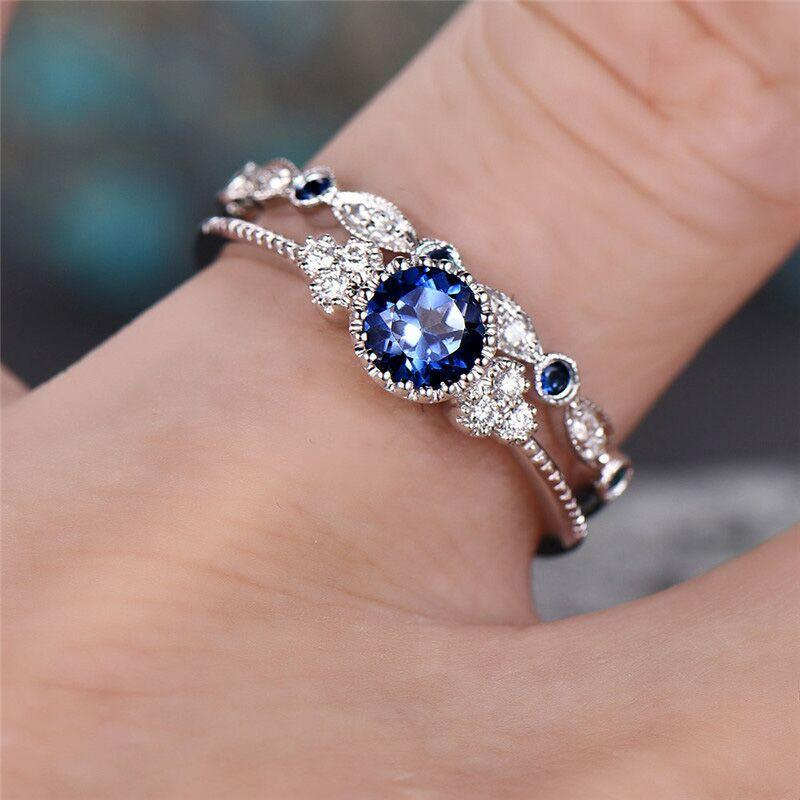 2pcs Set Luxury Green Blue Stone Crystal Ring Blue Wedding Rings Cheap Wedding Rings Silver Wedding Rings