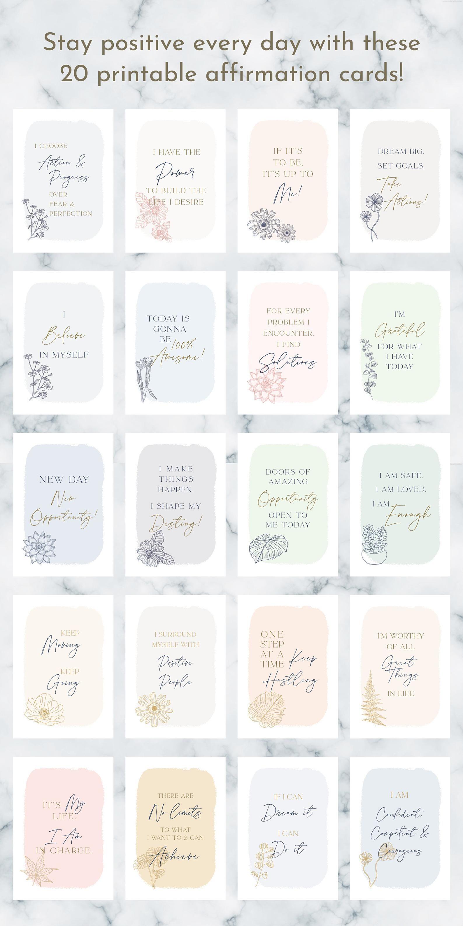 Printable Positive Cards Deck Self Affirmation Cards Affirmation Cards For Women Positive Affirmation Cards Positive Cards Printable In 2021 Affirmation Cards Positive Affirmation Cards Affirmations