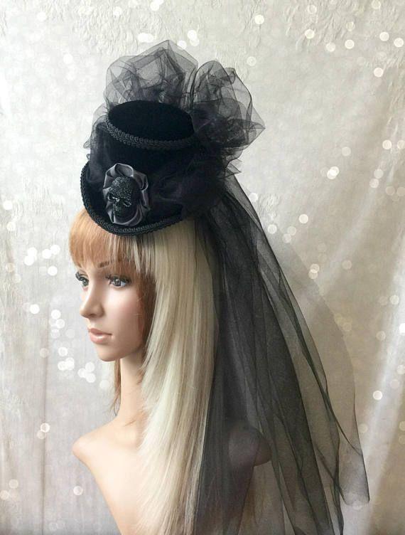 Halloween Mini Top Hat Vampiress Hat Black Skull Hat Victorian
