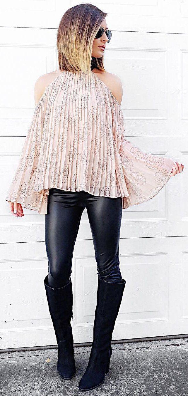 0edd4f37135  winter  fashion   Pink Open Shoulder Pleated Blouse   Black Leather  Leggings   Black OTK Boots