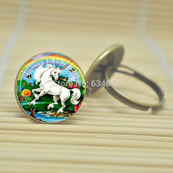 Inexpensive Unicorn Ring Standing Majestic Design Glass Cabochon