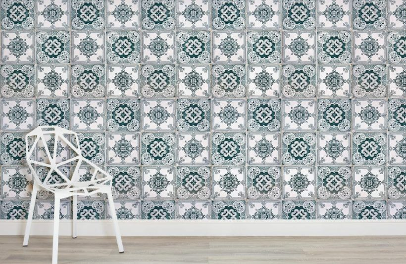 Light Green Portuguese Tile Effect Wallpaper Textured