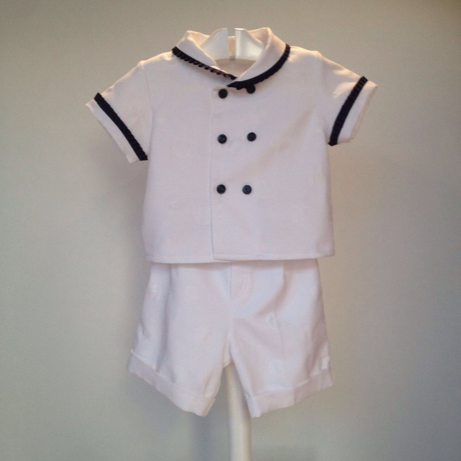 White blue sailor baby outfit boy nautical outfit toddler summer