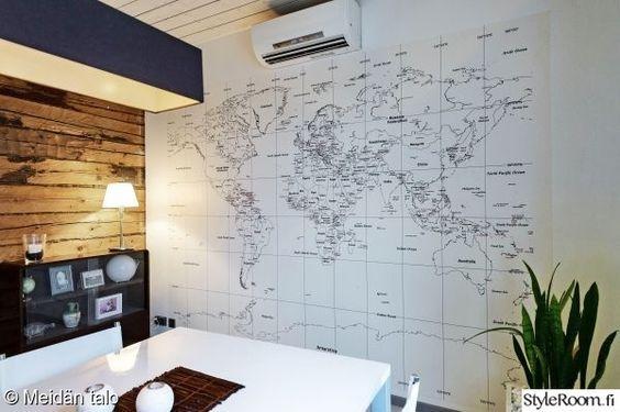 Ruokailuhuone Tapetti Kartta Maailmankartta Olohuone Kaunis