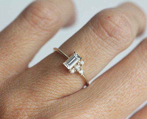 White Baguette Sapphire Ring / Modern Diamond Clus
