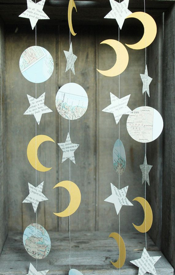 Celestial Party Decorations, Paper Garland, Star and Moon Garland
