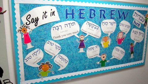 Hallway bulletin board to teach common phrases in Hebrew!