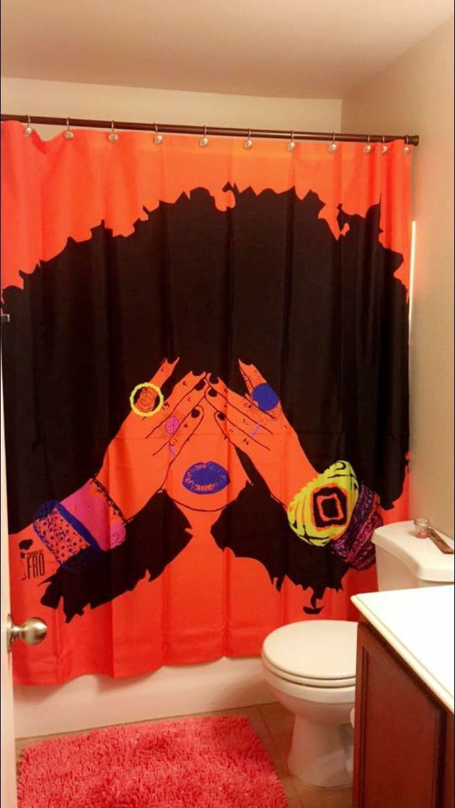 orange and black shower curtain. Shower curtain  pardonmyfro com Beautiful Pinterest